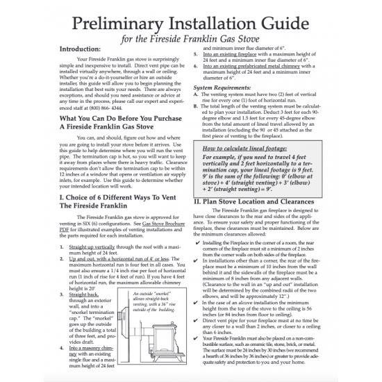 Gas Stove Preliminary Installation Guide