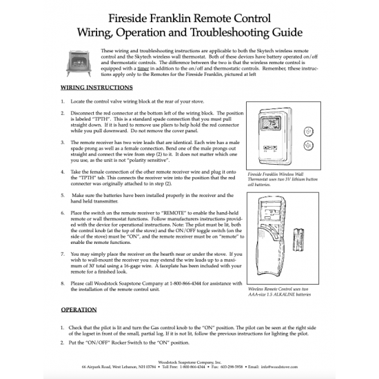 Fireside Franklin Remote Control Wiring, Operation, and Troubleshooting